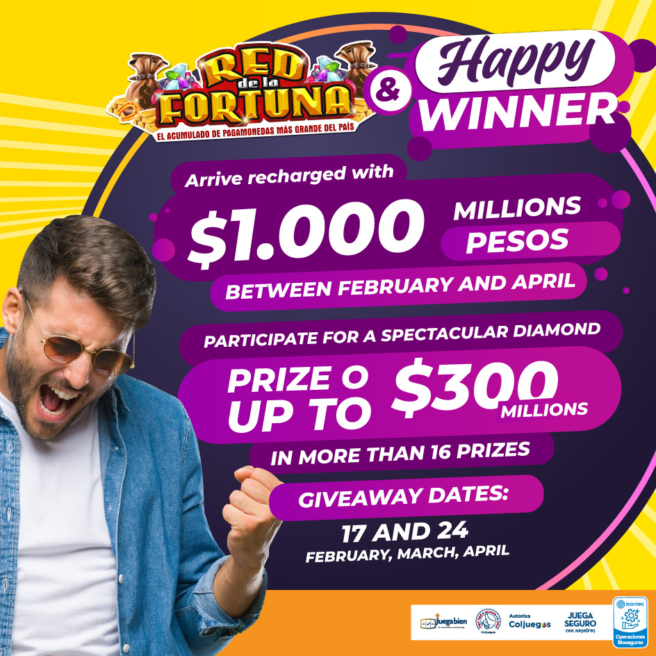 Red de la fortuna Enter for a spectacular diamond prize of up to 300 million
